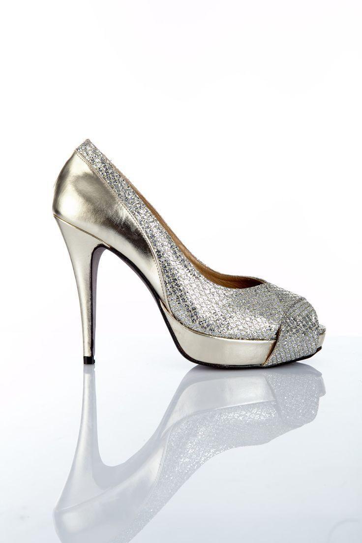 Zapato de mujer peep toe en tejido fantasía color plata y plataforma y  tacón de 12 cm en piel metalizada espejo té