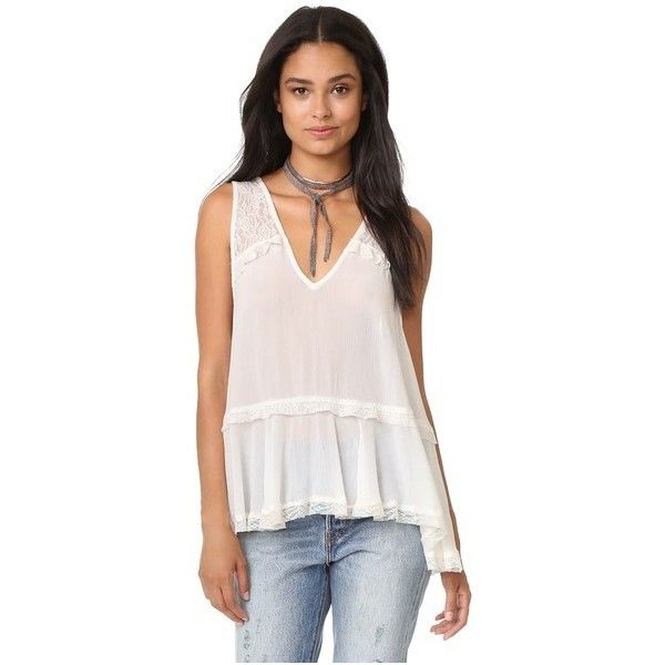 Free People Lace Trapeze Cami ($28) ❤ liked on Polyvore featuring intimates, camis, tops, ivory, ivory camisole, pink camisole, lacy cami, lace camisole and free people cami