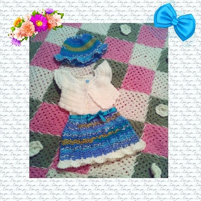 Custom Made Crochet Dress Sun Hat Bolero Set For Babies And Little Girls £22.00