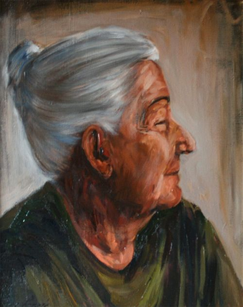 Grandmother Cyprian Nocon portrait oil on canvas