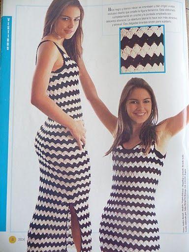 Crochetemoda: Vestido de Crochet Preto e Branco ❤️LCD-MRS❤️ with diagrams.