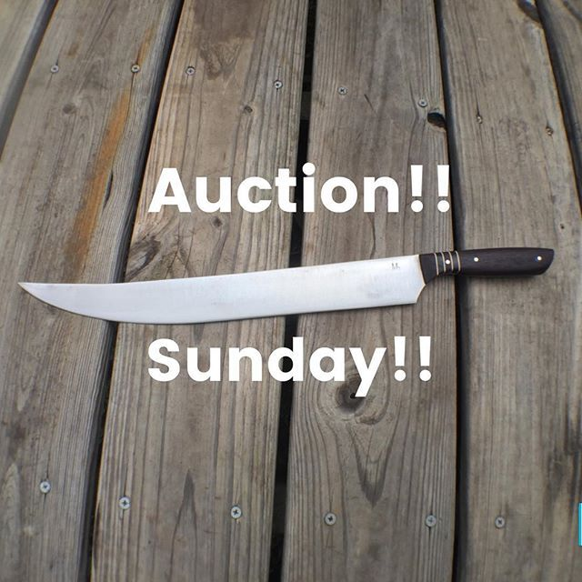 """Sunday afternoon auction!! 12-3PM CST Just in time to carve up those Christmas dinners!! 14"""" cimitar (scimitar) from reclaimed star drill bit in bocote and ebony spacers. Will ship internationally at buyer's expense. Continental U.S. shipping is free.  #chefsroll #chefknife #cheflife #knife #culinary #truecook #truecooks #recipe #recipes #handcrafted #handmade #nashville #knifeporn #eatlocal #gastronomy #gastronomia #foodie #chefsofinstagram #foodiesofinstagram #madeinusa #lovefood #cooking…"""