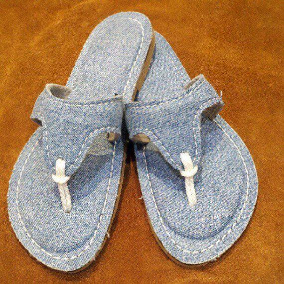 upcycled denim flip flops