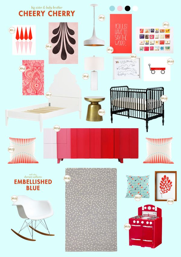 Go bold with this Cheery Cherry nursery featured on Style Spotters. See the full post here: http://www.bhg.com/blogs/better-homes-and-gardens-style-blog/2012/11/21/sharing-a-room-cheery-cherry/?socsrc=bhgpin112312cherrynursery