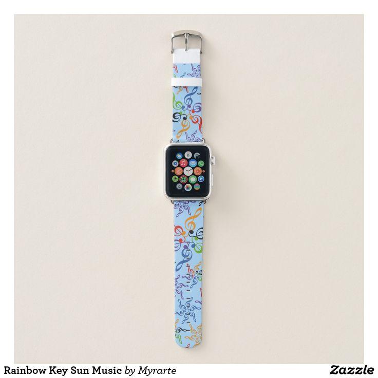 Rainbow Key Sun Music. Producto disponible en tienda Zazzle. Accesorios, moda. Product available in Zazzle store. Fashion Accessories. Regalos, Gifts. #reloj #watch #bands