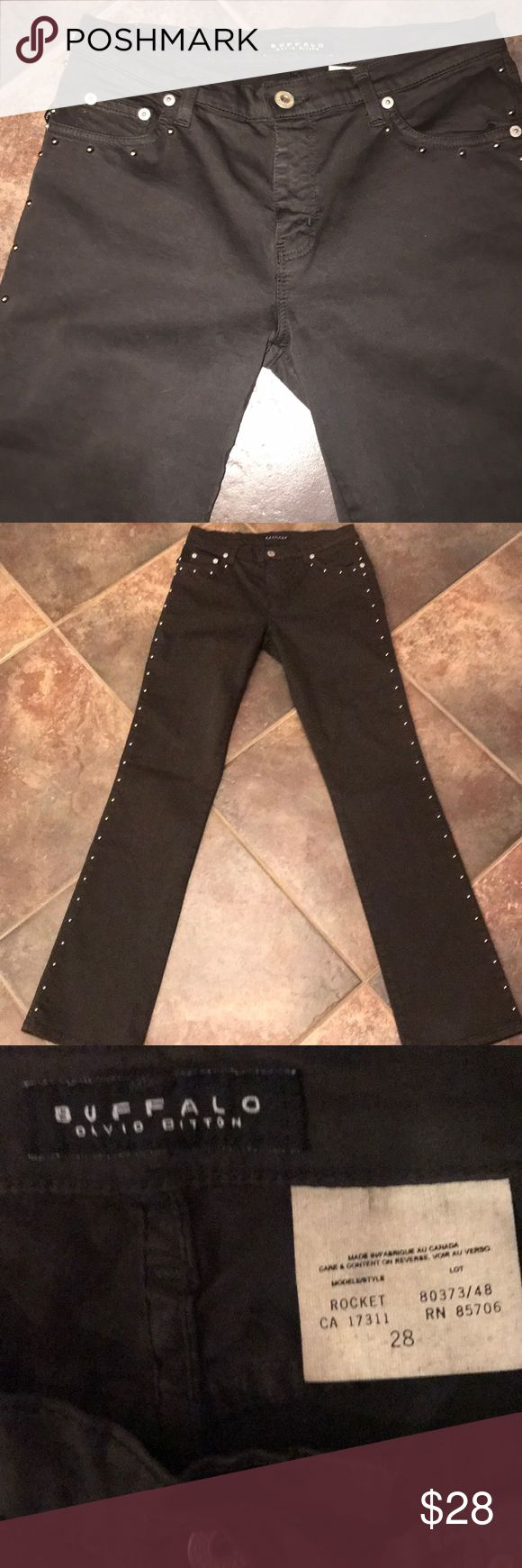 "BUFFALO JEANS DAVIDBITTON BrWn Sz28 Silver Studs. BUFFALO JEANS DAVID BITTON Brown  Sz28 Silver Studs along sides and pockets. Stretch Inseam 32"". Never worn Buffalo David Bitton Jeans"
