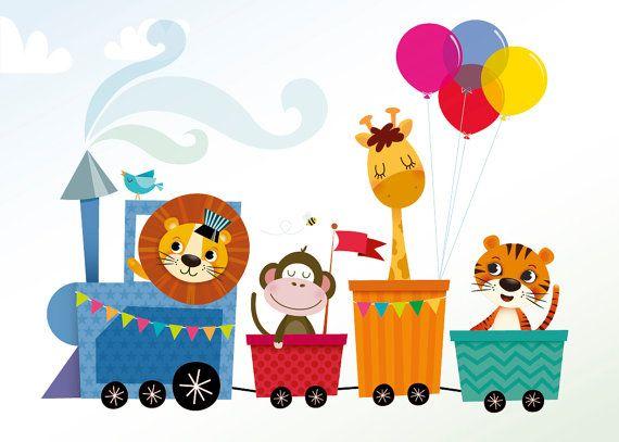 Animal train art print nursery illustration by IreneGoughPrints
