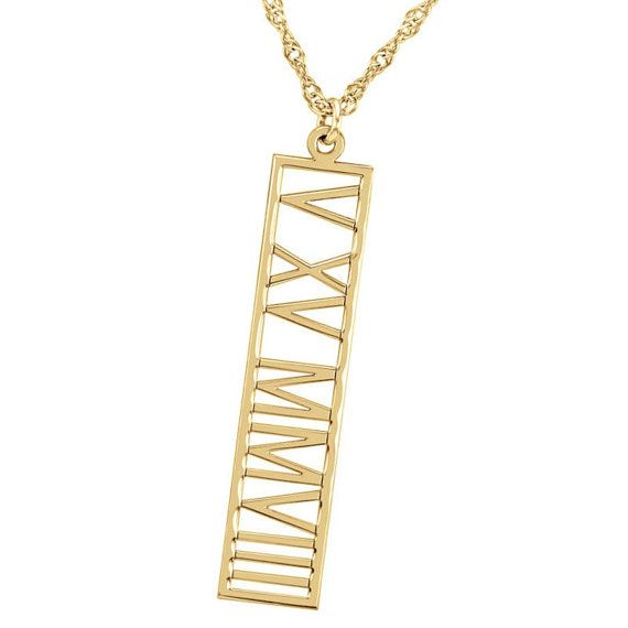 Buy Roman numeral Gold bar necklace Personalized Roman numeral Name Vertical or horizontal Necklace Gold Fill 14K Name Bar Any Name by personalmonogram. Explore more products on http://personalmonogram.etsy.com