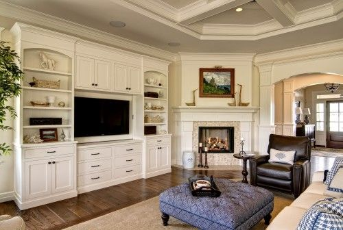 greatroom: Idea, Fireplaces Design, Living Rooms, Built In, Builtin, Corner Fireplaces, Wall United, Families Rooms, Entertainment Center
