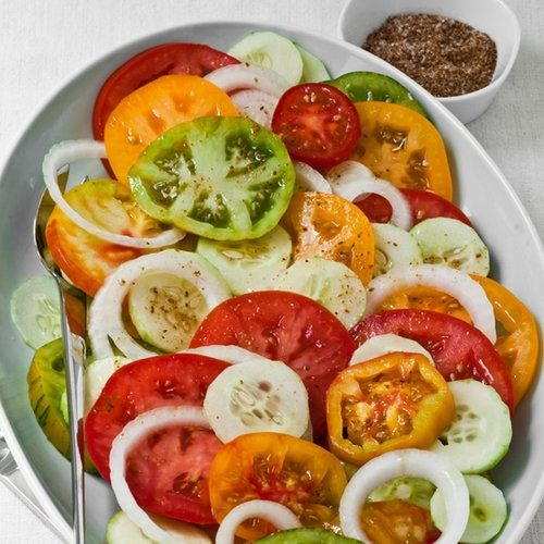 Only slightly more involved than Andreas Viestad's supersimple tomato salad, this version is inspired by Middle Eastern cuisine.