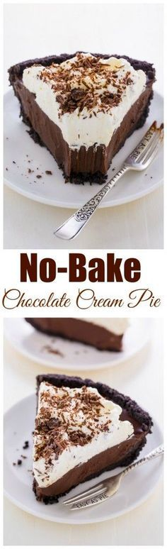 Silky smooth No-Bake Chocolate Cream Pie! This insanely easy recipe can be made ahead of time and frozen for 2 months.