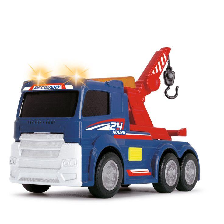 Met deze sleepwagen van Dickie Toys wordt slepen nog makkelijker.De sleepkraan op en neer bewegen en de haak kan uitgerold worden. Als je op de rode knop aan de zijkant drukt maakt de sleepwagen geluid en gaan de lampen aan de bovenkant branden. Afmeting: lengte 15 cm - Sleepwagen