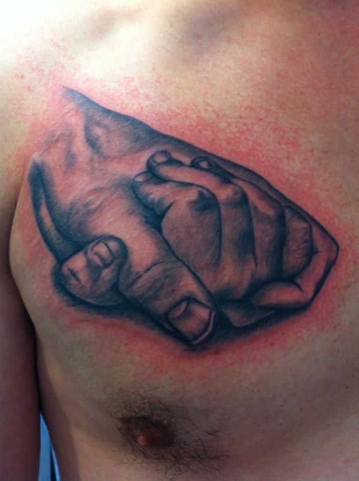 #holding #hands #father #daughter #chest #tattoo