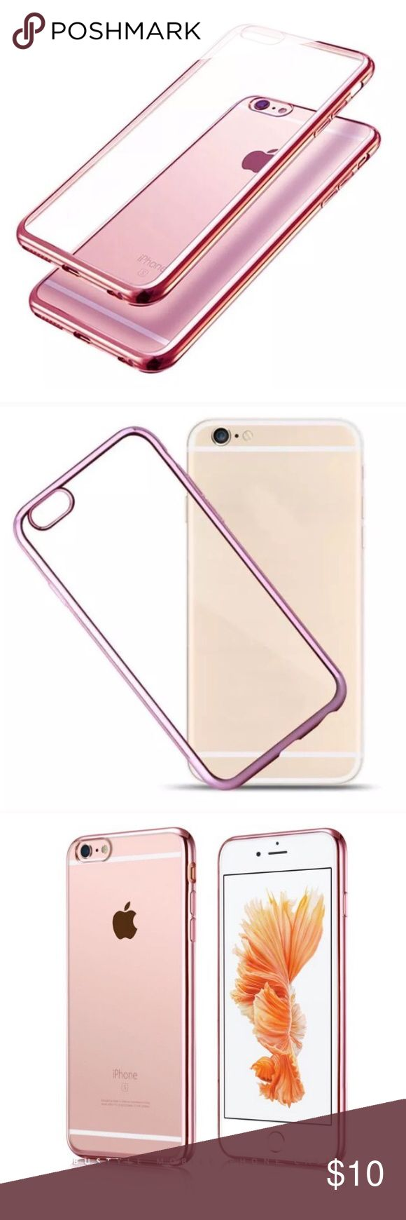 Soft Clear Iphone6/6S Case. Silicone clear slim Iphone6/6S case with Rubin rose shiny sides. Lightweight. Good protection. Accessories Phone Cases