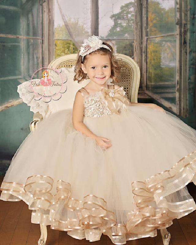 Aliexpress.com : Buy 2015 Hot Gold Flower Girls Dresses Ball Gown ...