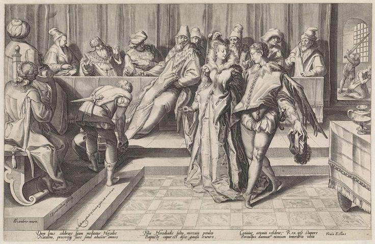 Jan Saenredam | Salome bij het banket van Herodes, Jan Saenredam, Franco Estius, David de Meyn, 1589 - 1607 | Salome en een jonge man dansen(?) voor een lange tafel, waaraan verschillende personen zitten, onder wie Herodes. Links houdt een man een vat vast. Rechtsachter knielt de geblinddoekte Johannes de Doper voor een man met een opgeheven zwaard. Onder de voorstelling een zesregelige, Latijnse tekst met een toelichting op de scène.