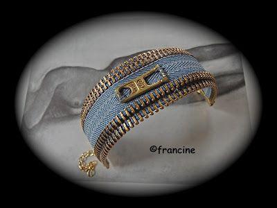 """FRANCINE BRICOLE : Deux fermetures éclair récup' font le Bracelet """"Je..."""