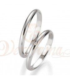 Βέρες γάμου λευκόχρυσες με διαμάντι breuning 4311-4312
