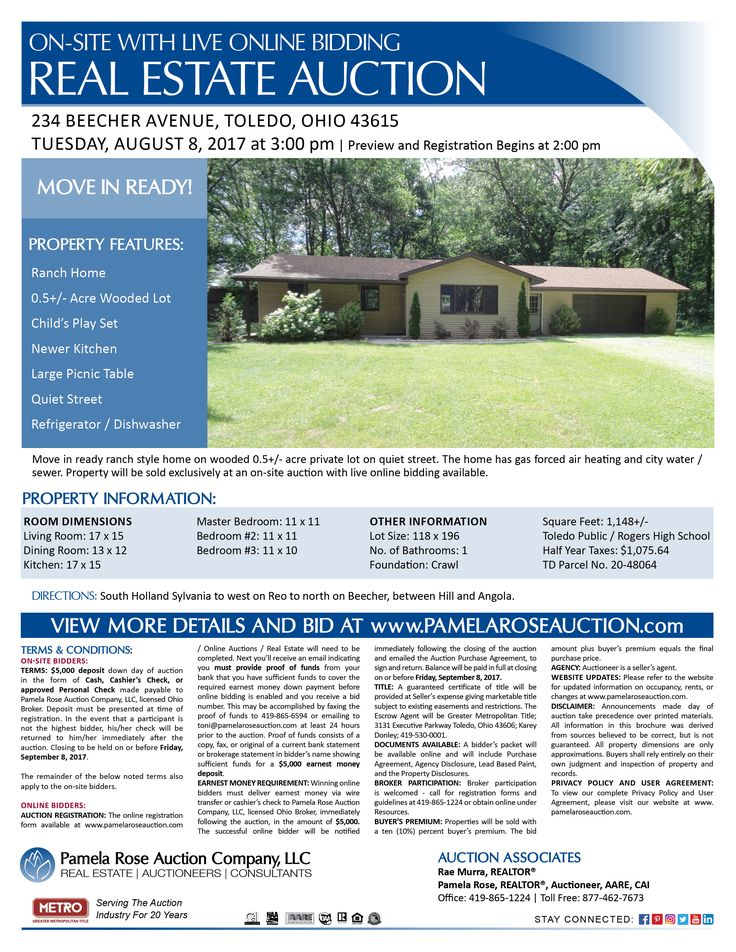 Home on Wooded Half Acre Lot at Auction! 234 Beecher Avenue, Toledo, Ohio 43615 on Tuesday, August 8, 2017 at 3:00 pm. Preview and Registration Begins at 2:00 pm. Auction! Move in ready ranch home on wooded half acre lot on quiet street. Property is being sold on-site with live online bidding available. View more details online. Pamela Rose Auction Company, LLC.