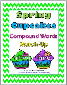 Spring Cupcakes Compound Words Matching Activity (color and b+w)