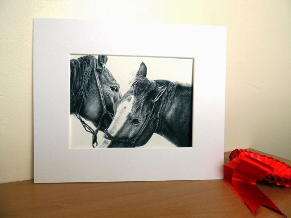 Gorgeous drawing of horses Etsy listing at https://www.etsy.com/listing/195791784/horse-fine-art-pencil-drawing-print-10-x