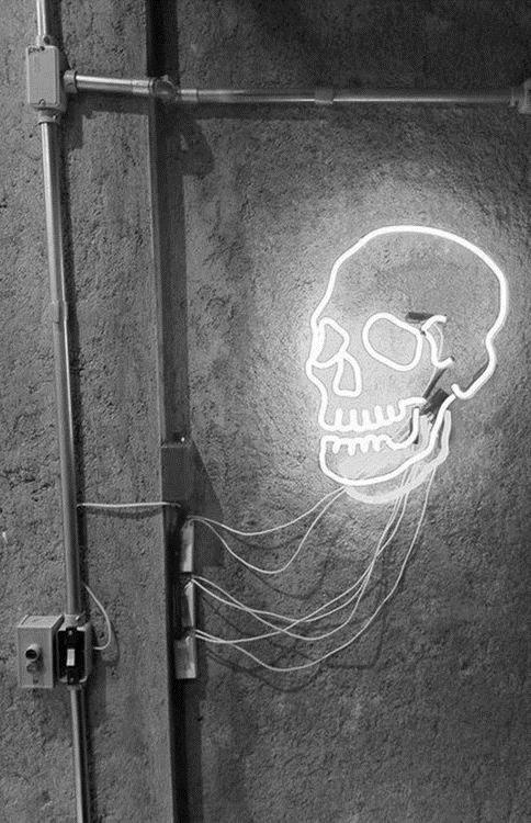 ☠☠☠™ skull white neon light