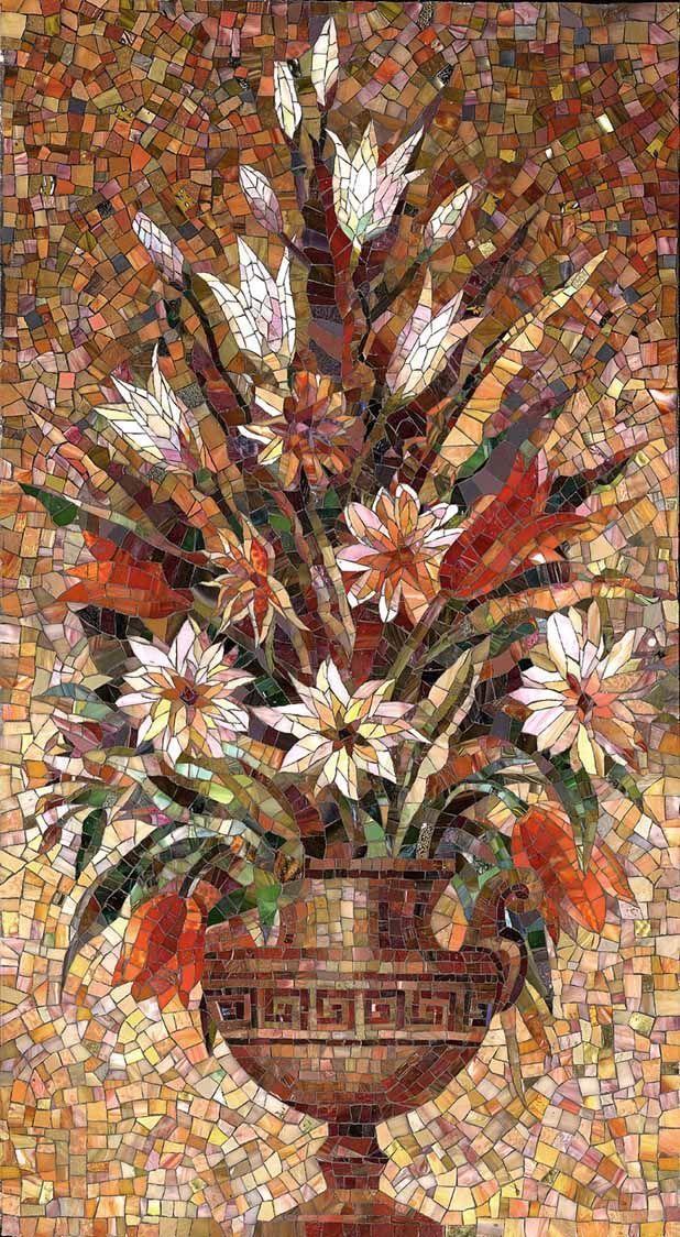 Мозаичное панно Букет в античной вазе