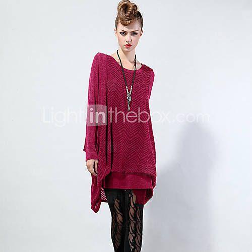 LUTING® Femme Col Arrondi Manche Longues Pull & Cardigan Rouge / Vert / Gris foncé-8609-2 de 5260923 2016 à €28.41