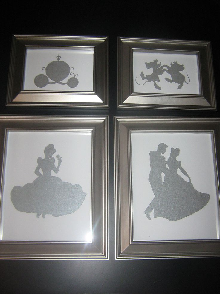 Framed nursery art, disney princess silhouette, Cinderella art, once upon a time, fairytale