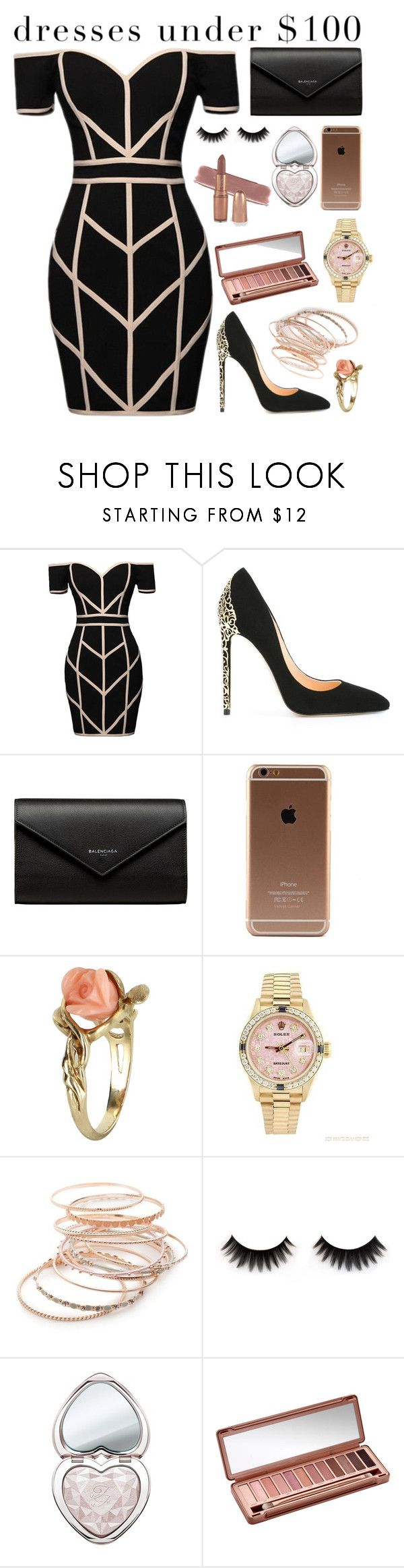 """""""Tell me about it"""" by tigerlily789 ❤ liked on Polyvore featuring Command, Cerasella Milano, Balenciaga, Vintage, Rolex, Red Camel, Too Faced Cosmetics and Urban Decay"""