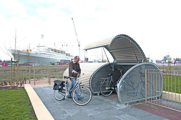 Fahrradgarage Multi Bike Box Zum Eingraben Wellblech In Ral 7044
