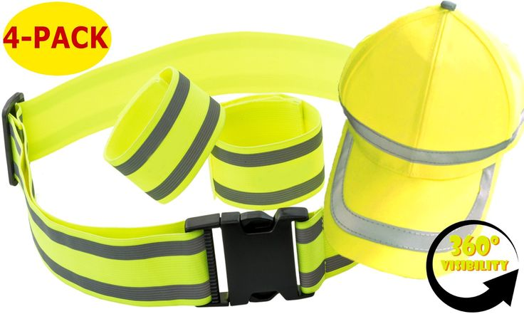 Reflective Safety Gear Set | Reflector Bands + Reflective Belt + Hi Vis Baseball Cap | Made of Silver Tape High Visibility for Running Gear, Walking, Biking | Adjustable & Lightweight by Mr Visibility. HIGH VISIBILITY WITH SILVER REFLECTIVE TAPE - Reflective running gear made of premium silver reflector tape. Stay safe while jogging, exercising or doing any outdoor activity. Hi Vis at night & day time, 360° visible in any weather condition and poor light. GREAT VALUE WITH 4 SAFETY CLOTHING…