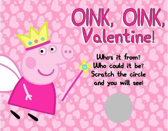 Personalized Peppa Pig Valentines Day Cards Scratch Off
