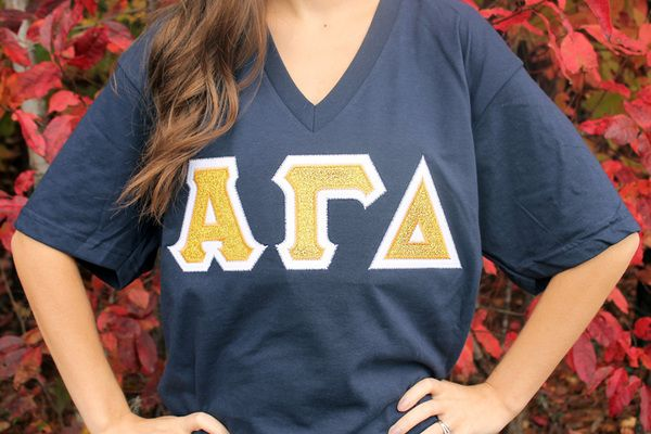 Alpha Gamma Delta Glitter Sorority Greek Letter Shirt