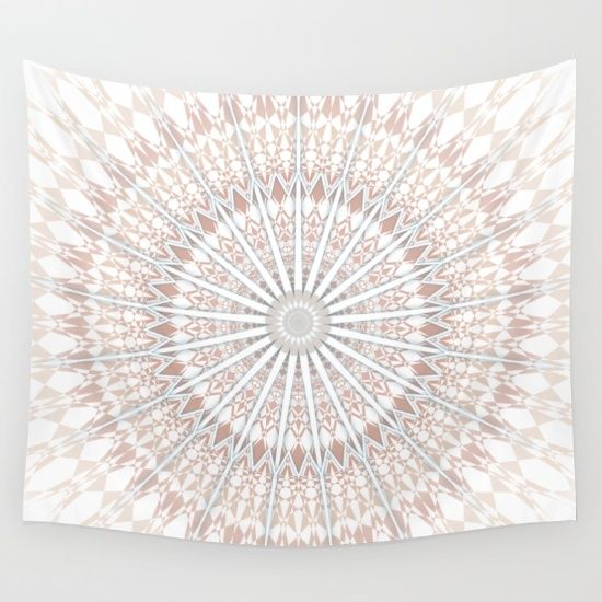 Available in many colors! Mandala Wall Tapestry White  Soft #walltapestry in #beige #white #pastel. This #mandala is a reinvention of the sacred #circle for modern living culture. #ornament #chevron #dormroom #livingroom #dormtrends #trendy #modern #zigzag