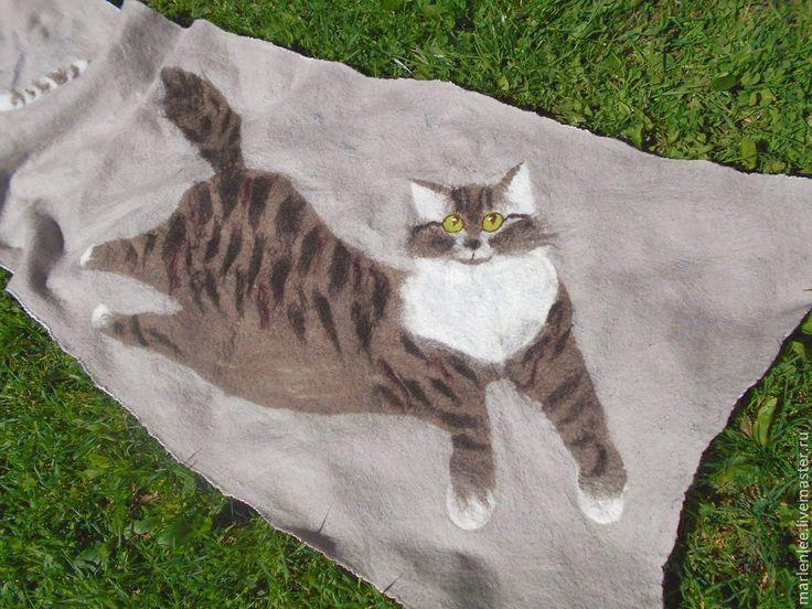 "Купить Палантин ""Кот и кошка"" - серый, рисунок, палантин, палнтин валяный, палантин нунофельт"