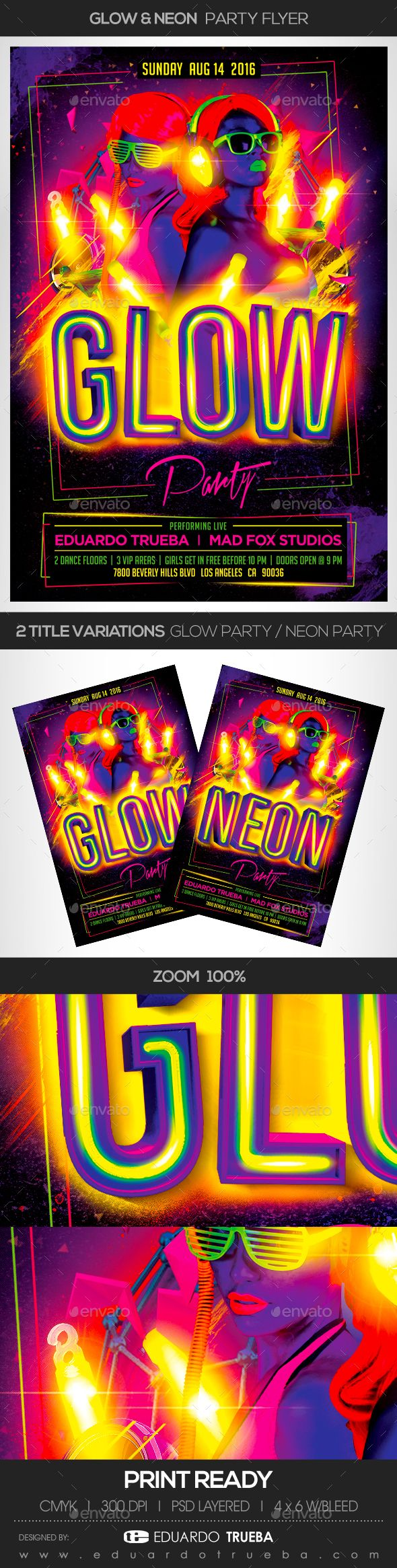 Pin by best Graphic Design on Flyer Templates Neon party