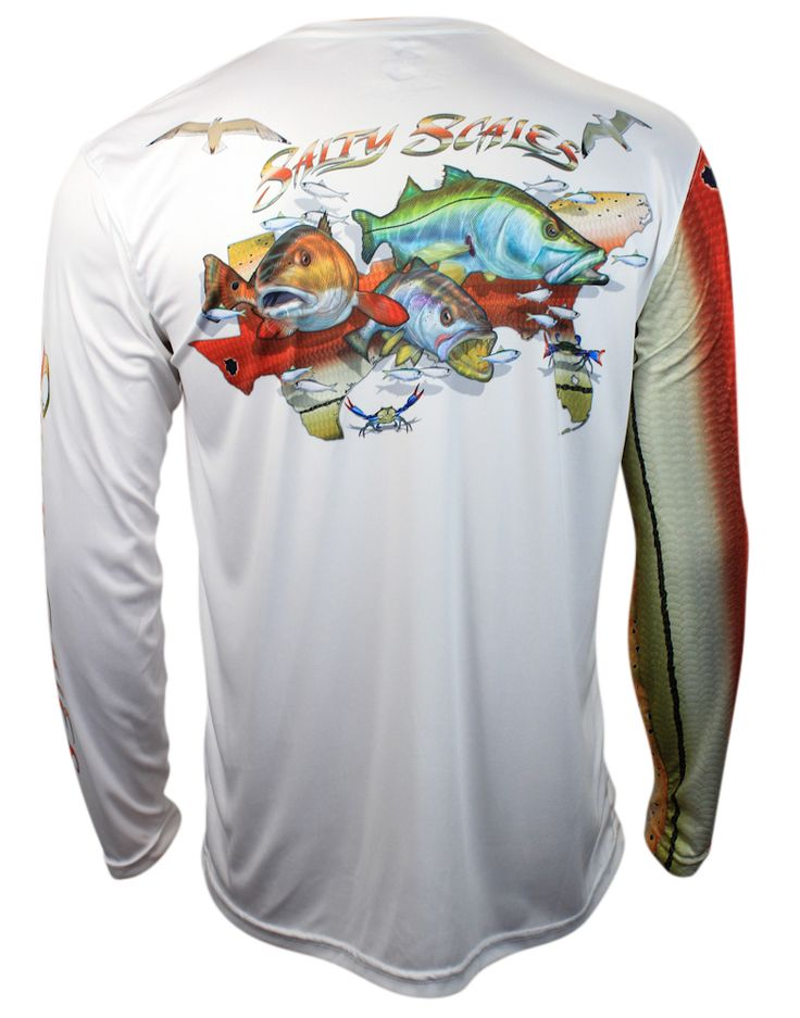 New for 2016, the Salty Scales inshore slam shirt featuring a redfish, trout and snook. Premium American performance apparel.