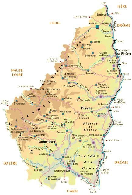 Carte de l'Ardèche