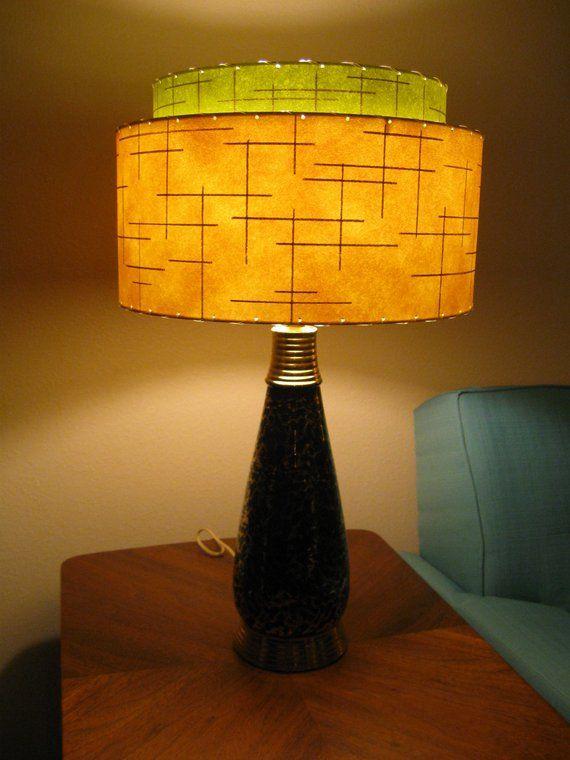 Mid Century Vintage Style 2 Tier Fibergl Lamp Shade Modern Atomic Retro Io