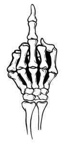 Skeleton shows middle finger, vector illustration, white background