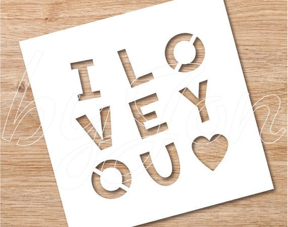 Instant Download-Cutout Valentines card,I love you. for paper cut by hand or with machine eps png pdf jpg svg dxf