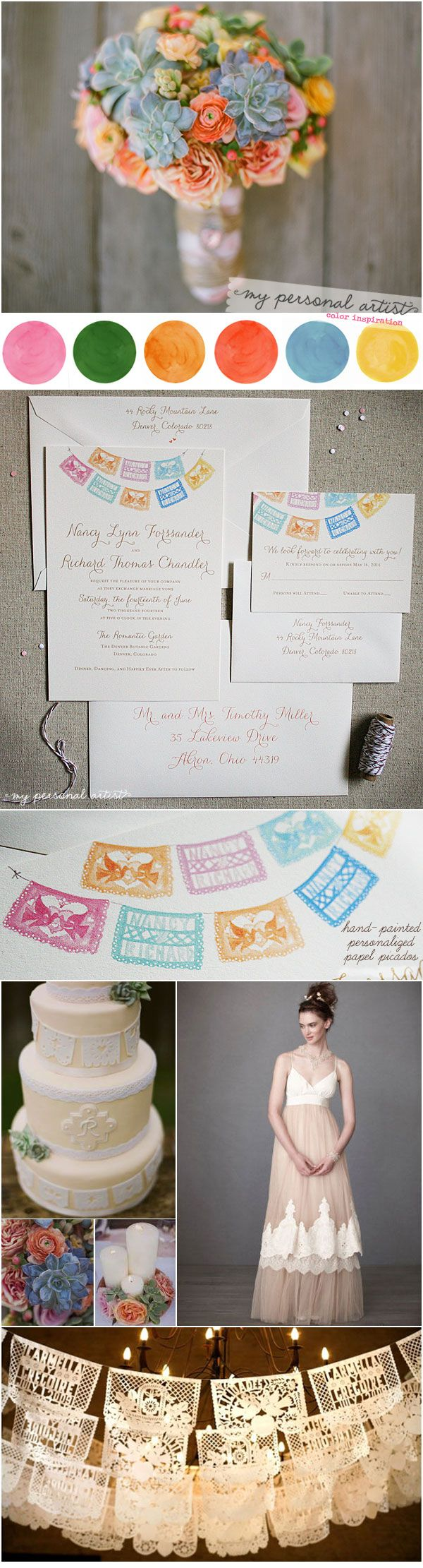 @Katie Mischel Vintage Old Spanish Wedding Invitations with hand-painted personalized Papel Picados.