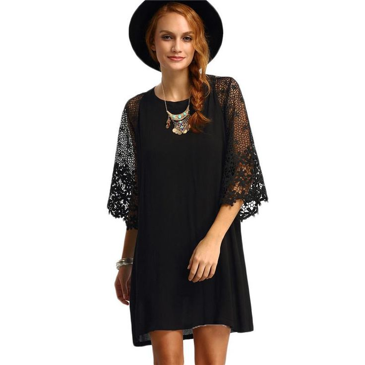 Stephanie Crochet Sleeve Tunic Dress