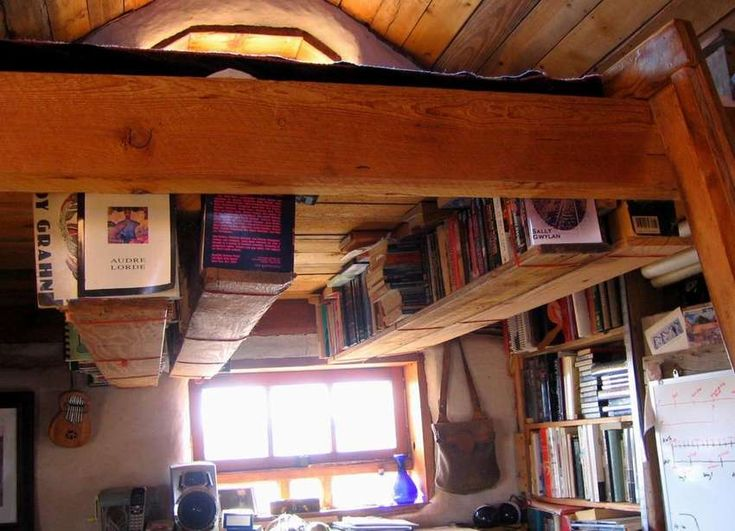 bookshelf near the ceiling