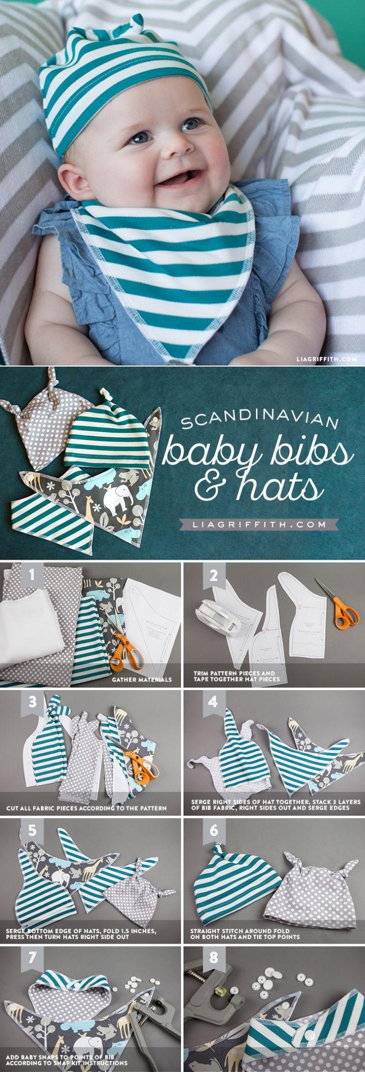 DIY Baby Bib and Hat - www.LiaGriffith.com - #fabricdotcom #sewingproject #sewingpattern #babybibpattern #babybib #diybabybib #diybaby #babydiy