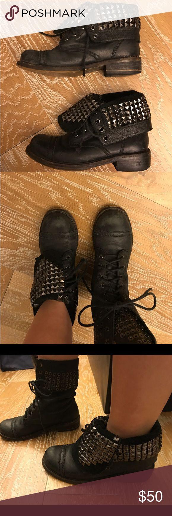 Zigi girl studded combat/motorcycle boots Zigi girl -black leather, studded fold over, lace up boots. zigi girl Shoes Combat & Moto Boots
