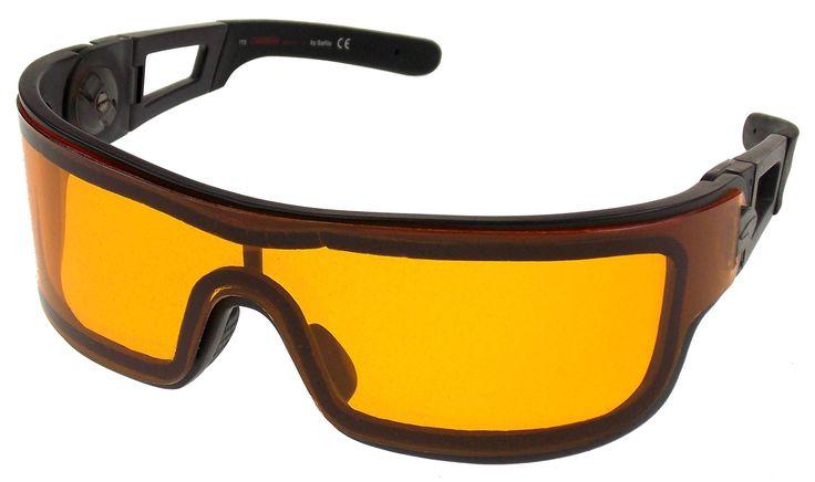 Carrera Sport Orange Lens Ski Sunglasses Wraparound Black Frame Zipper Case
