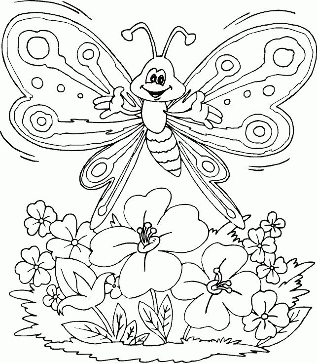 Coloring Sheet Of A Flower : 49 best coloring pages butterflies images on pinterest