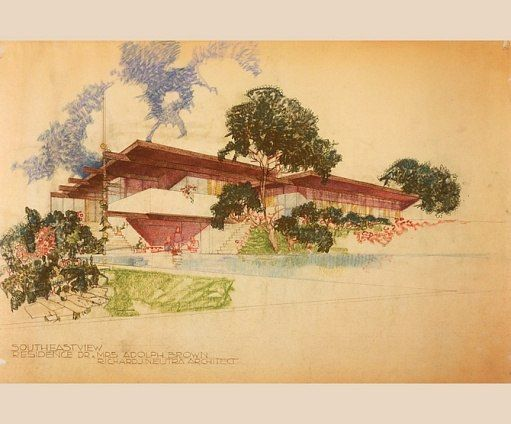Though Neutra's associates contributed to his designs, the basic concept as well as the elegant presentation drawings clearly bore the architect's signature, as in this unbuilt Malibu beach house from the 1950s. Architectural Digest